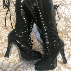 Black LaceUp Platform Boots! Size 6